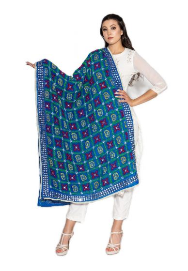 Traditional Hand Crafted Multi Color Bagh Embroidered Phulkari Dupatta-Cerulean Blue