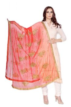 Traditional Floral Embroidered with Golden Border Dupatta, Bridal and Party wear