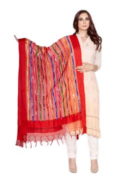 Multi-Color Embroidered with Faux Mirror Net/Tulle Dupatta