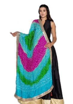 Hand Crafted Traditional Skyblue Bandhani Dupatta