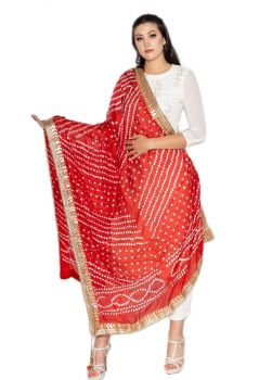 Hand Crafted Traditional Bandhani/Bandhej Single Shade Dupatta with Matching Border-Red