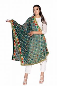 Hand Crafted Traditional Multi Color Floral Phulkari Dupatta