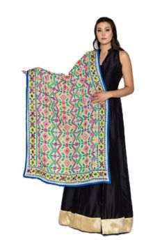 Traditional Hand Crafted Multi-Color Vine Embroidered Phulkari Dupatta Smoke White