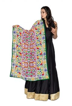 Traditional Hand Crafted Multi Color Bagh & Birds Style Embroidered Phulkari Dupatta