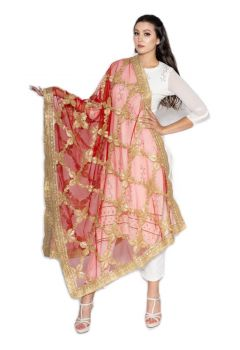 Traditional Floral Embroidered Gota Patti with Golden Border, Bridal and Party wear Dupatta