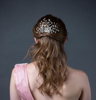 Hand Crafted Bridal Pearls and Rhinestones Hair Comb