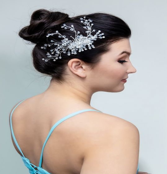 Hand Crafted Bridal Crystal Beads Floral Hair Comb