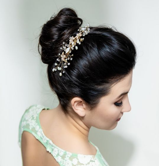 Hand Crafted Bridal Metallic Chrome Floral and Pearl Hair Comb