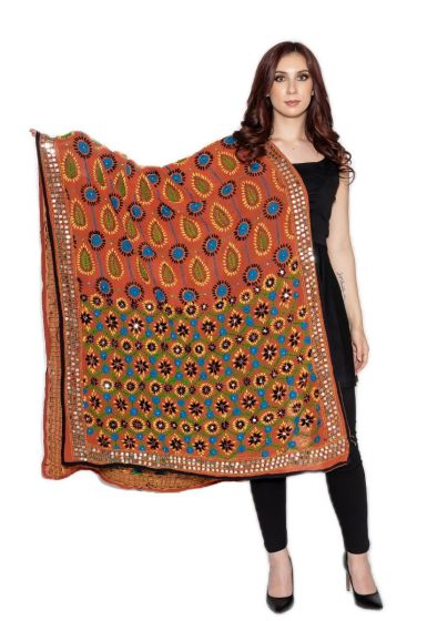 Traditional Hand Crafted Multi Color Floral & Vine Style Embroidered Phulkari Dupatta Ochre