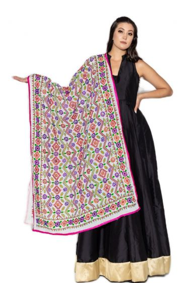 Traditional Hand Crafted Multi Shade Floral Vine Embroidered Phulkari Dupatta Pearl White