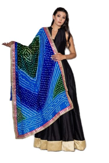 Hand Crafted Traditional Blue Bandhani Dupatta