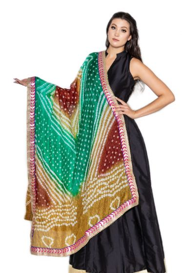 Hand Crafted Traditional Teal Gold Bandhani Dupatta