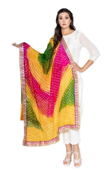 Hand Crafted Multi Color Bandhani Dupatta