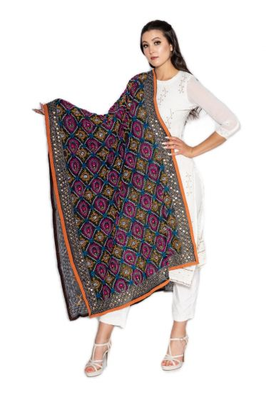Traditional Hand Crafted Multi Color Floral Jaal Style Embroidered Phulkari Dupatta Onyx Black