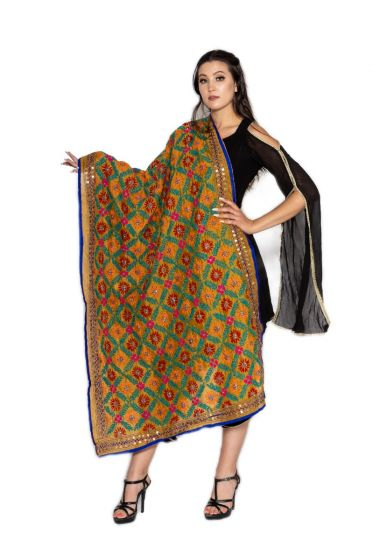Traditional Hand Crafted Multi Floral Jaal Embroidered Phulkari Dupatta-Medallion Gold